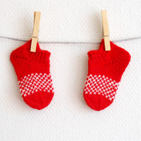 Hand knit baby socks in red and white, woolen baby booties, slippers for 6 months old