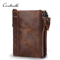 CONTACT'S HOT Genuine Crazy Horse Cowhide Leather Men Wallet Short Coin Purse Small Vintage Wallet Brand  Designer
