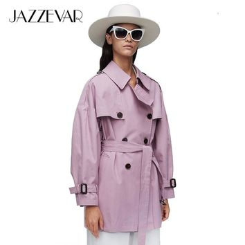 JAZZEVAR2019 New arrival autumn top purple trench coat women waterproof cotton double breasted short fashion women clothes 9010