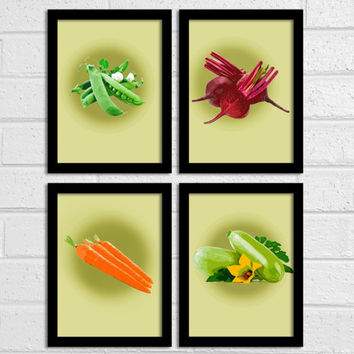 Set of 4 Food Art Prints Kitchen decor Modern Kitchen art Poster 8X10 Inch Wall decor Dining Room Decor Vegetables art Choose Your Сolors