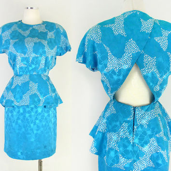 Vintage 1980s Blue Silk Peplum Dress With Keyhole Back - Women's Brilliant Blue and White Adriana Papell Cocktail Dress - Size 6 Small