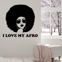 Vinyl Wall Decal Beautiful Black Lady Afro Quote Woman Room Art Decor Stickers Mural (ig5264)