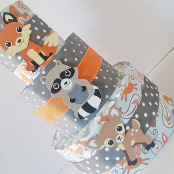 Woodland Animals Diaper Cake Table Centerpiece Forest Baby Shower Fox And Deer