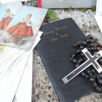 Vintage Catholic religious rosary prayer books - prayer beads and medals - antique rosary beads collection - our lady vintage