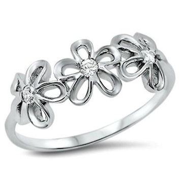 Sterling Silver Daisy Flower CZ Ring Kids and Ladies Ring size 4-12
