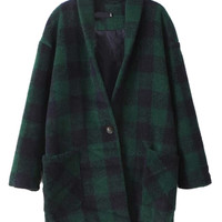Green Plaid Pattern V Neck Long Sleeve Coat