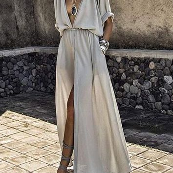 Gray Plunge Pocket Detail Thigh Split Front Maxi Dress
