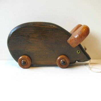 Vintage wooden Mouse pull toy, Handmade Retro Kid's Toy