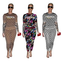 Fendi New fashion more F letter top and pants two piece suit Coffee