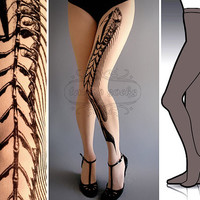 L/XL Fish Bone  tattoo tights / stockings / full length / pantyhose / nylons Grey
