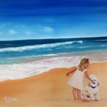 "Ocean Beach Oil Painting, Girl and Dog at Beach Painting, Seascape Oil on Canvas, 18""x24"", FREE SHIPPING"