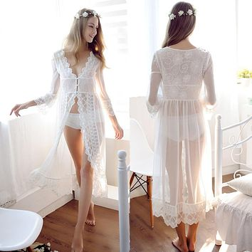 Lace White Wedding Robe Lingerie Dreams Bridal Sleepwear Nightgown Chemise De Nuit Mariage