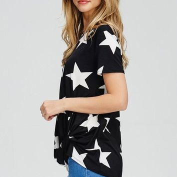 Star Print Twist Top - Black