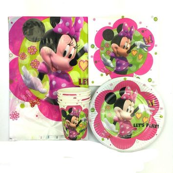 62pcs cartoon Minnie Mickey mouse 20pcs napkin+20pcs cup+20pcs plates+2pcs tablecover kids favors gift birthday party decoration