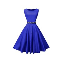 Tea Length Cocktail Dress, Royal Blue, US Sizes 4 - 26