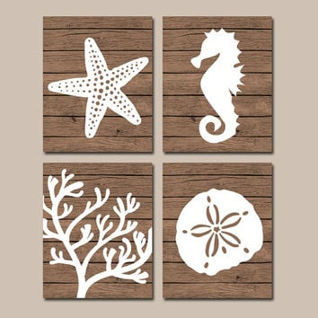 Beach BATHROOM Wall Art, CANVAS or Prints, Nautical Coastal Bathroom Decor, Starfish Seahorse, Coral Reef, Wood Plank Design, Set of 4