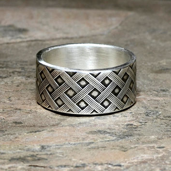 Woven Sterling Silver Cross Weave Ring aka Thatched Silver Ring
