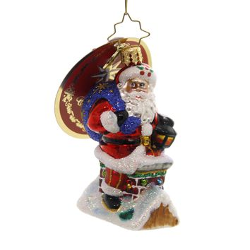 Christopher Radko CHIMNEY CLIMBER SANTA  GEM Glass Little Gem 1019189