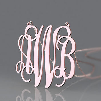 Rose gold vine font monogram necklace 1.5 inch or customized necklace for best gift
