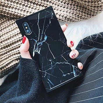 YonMeet Chic Black White Marble Case Retro Classic Stylish Cover For iPhone 8/7 Square Shockproof Strong Protective Back Casing (iPhone 7/8 4.7'', Black)