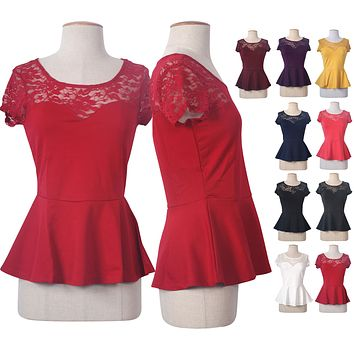 Lace Contrast Open Cut Out Back Slim Peplum Sleeveless Tank Top Blouse