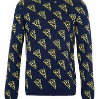 Navy Pizza Slice Sweater