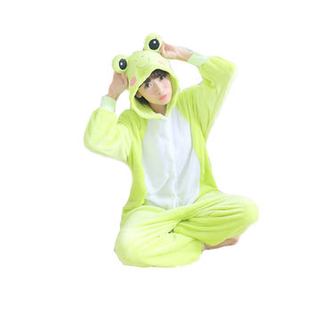 Unisex Adult Pajamas  Cosplay Costume Animal Onesuit Sleepwear Suit frog3
