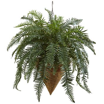 Artificial Flowers -Giant River Fern With Cone Hanging Basket Artificial Plant