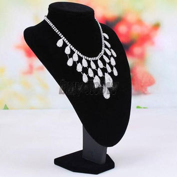 Black Mannequin Necklace Jewelry Pendant Display Stand Bust Holder Show  SN9