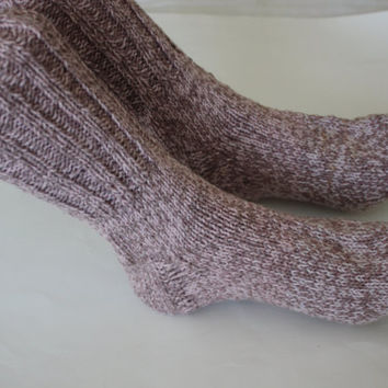 Ready to ship, Light Rose Cotton Handmade Knit winter socks, Hand knitted socks, 10 inches long, hand knit socks, Winter knit cotton socks