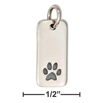 Sterling Silver Tag With Paw Print Charm