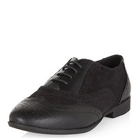 Wide Fit Black Embossed Brogues