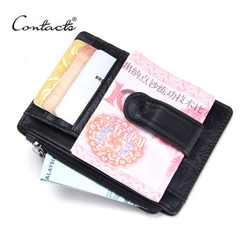 CONTACT'S 2016 New Brand Design High Quality Genuine Leather Money Clips Fashion Men Wallets with Coins Wallets