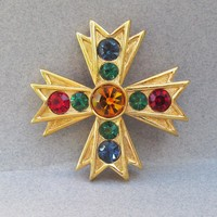 Signed NAPIER Jewel Tone Rhinestone Vintage Maltese Cross Pin