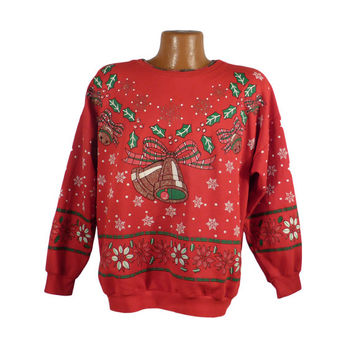 Ugly Christmas Sweater Vintage Sweatshirt Bells Nutcracker Scene Party Xmas Tacky Holiday