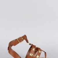 Women's Bamboo Studded Strappy Thong Flat Sandal