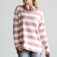 Comfort is Calling Striped Top  - Pink