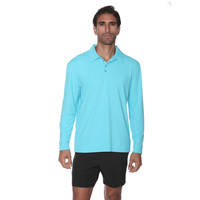 BloqUV Long Sleeve Polo Light Turquoise