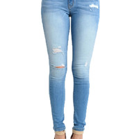 Kan Can Light Distressed Skinny Jeans