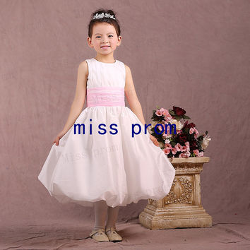 Jewel taffeta with sash tea-length flower girl dress