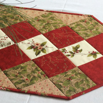 Christmas Table Runner, Quilted Winter Table Topper, Holly and Pines, Red Green Table Quilt, Winter Table Runner, Quiltsy Handmade