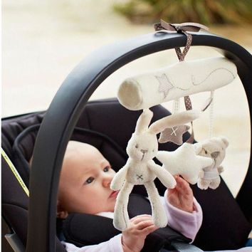 ONETOW Baby Gift Rabbit Baby Hanging Bed Safety Seat Hand Bell Multifunctional Plush Toy Stroller Crib Mobile Gifts CG-009
