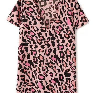 Pink Leopard back V-neck short-sleeved dress