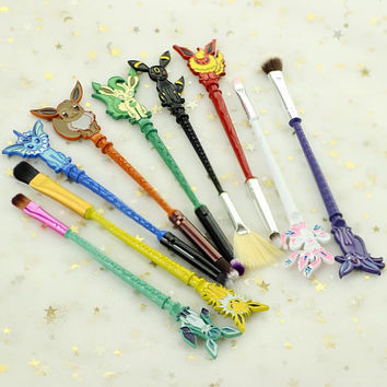 9pcs set pokemon GO inspired jewelry Makeup brush Lovely animals Women jewelry Cosmetic brushes