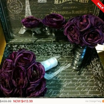 Sale - 17 Piece Eggplant Ranunculus Bouquet Bridal Bouquet Wedding Bouquet Set, Eggplant Bouquet, Purple Bouquet Eggplant wedding Eggplant
