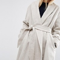 ASOS Coat in Soft Texture with Belt at asos.com