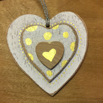 Wood Christmas Ornament / Rustic Christmas Ornament / Heart Christmas Ornament / Holiday Ornaments / Handpainted / Heart / Gold and Silver