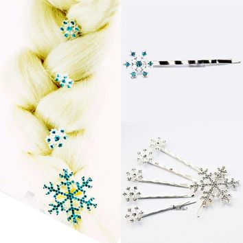 6 pcs/set Hair Clips Pins Princess Crystal Snowflake Hairclips Hairpins Headwear Barrettes Fashion Jewelry Gift Ornament Accesso