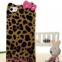 Hello Kitty TPU Leopard & Bow Case for Iphone 5 -- Yellow