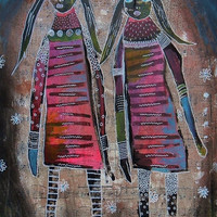 Modern Folk Art - Abstract Figures - Expressionist Art - Pink Brown - Outsider Art - Females In Art - Folk Art People - Quirky Art - Pop Art